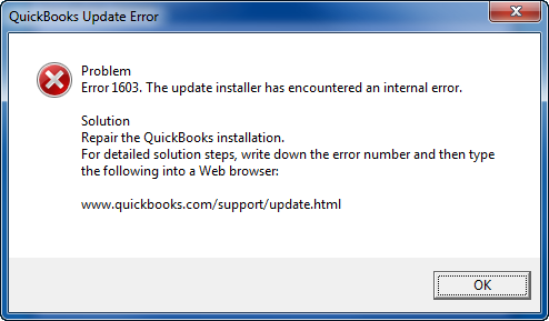 Error Status 1603: The update installer has encountered an internal error.